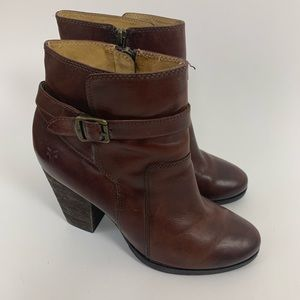 Frye Brown Leather Patty Riding Ankle Booties 9.5
